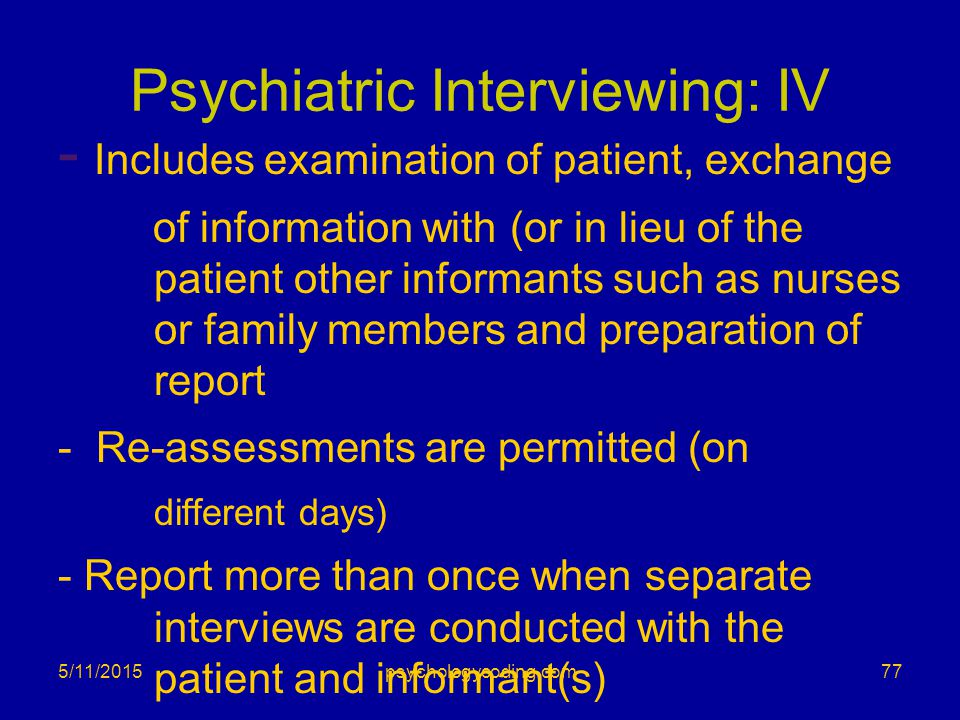 Psychiatric Interviewing: IV