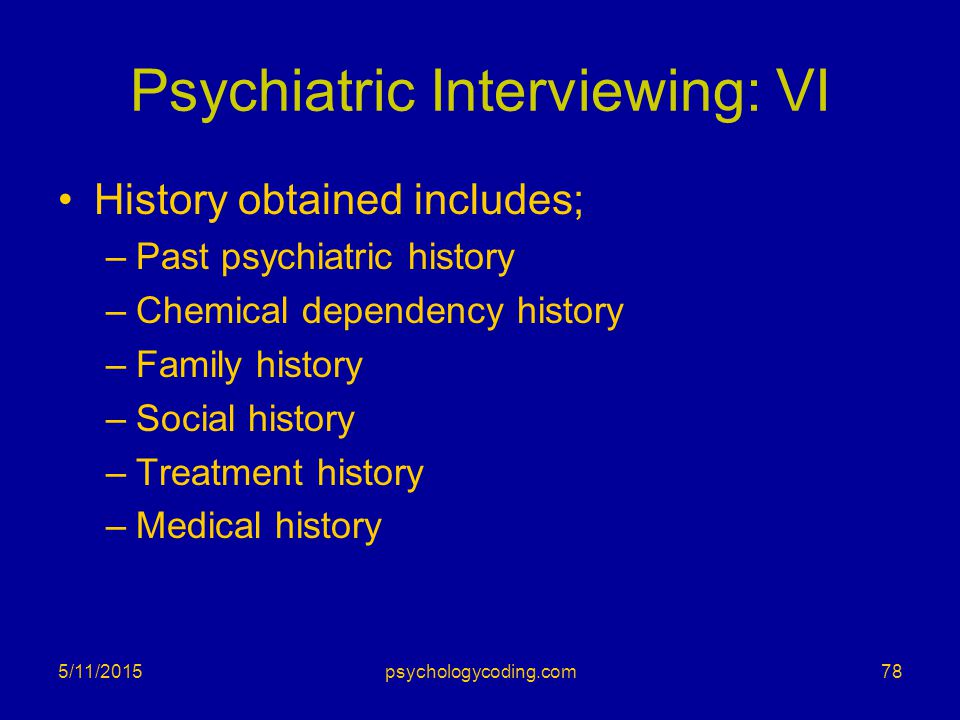 Psychiatric Interviewing: VI