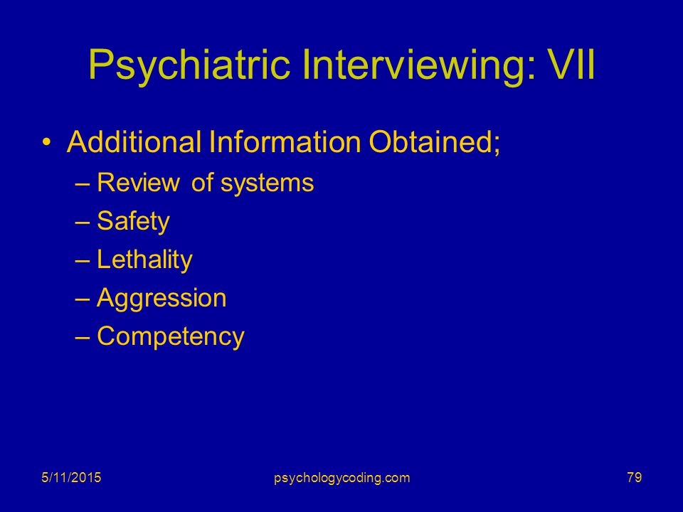 Psychiatric Interviewing: VII