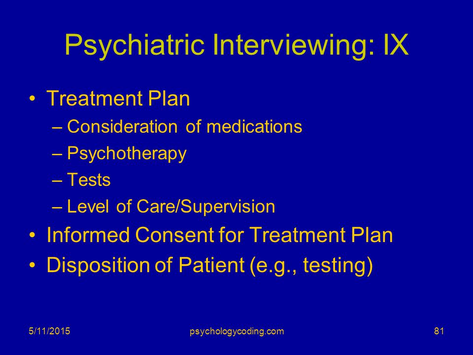 Psychiatric Interviewing: IX
