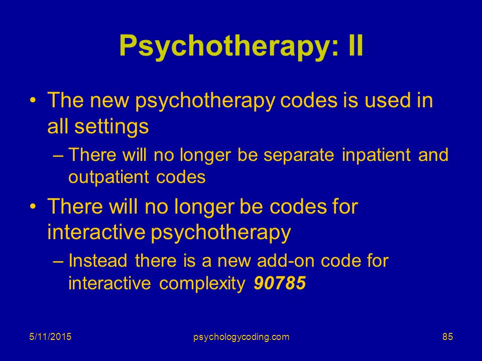 Psychotherapy: II The new psychotherapy codes is used in all settings