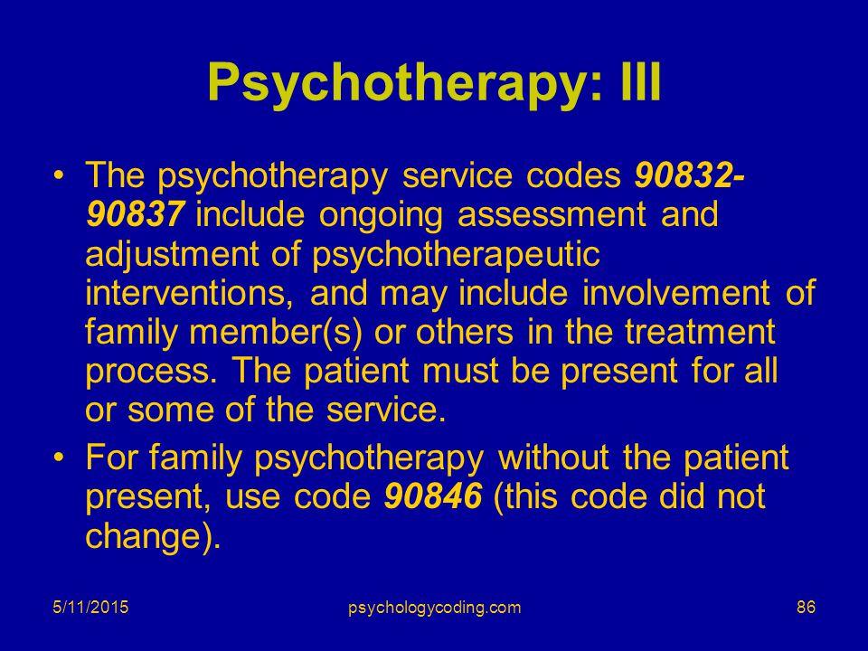 Psychotherapy: III