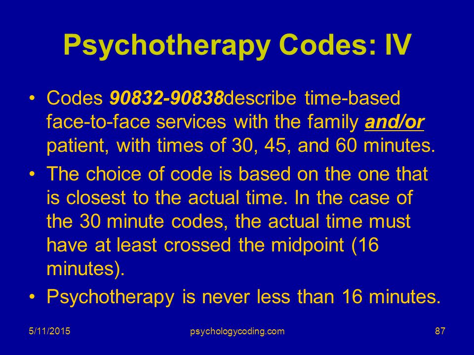 Psychotherapy Codes: IV
