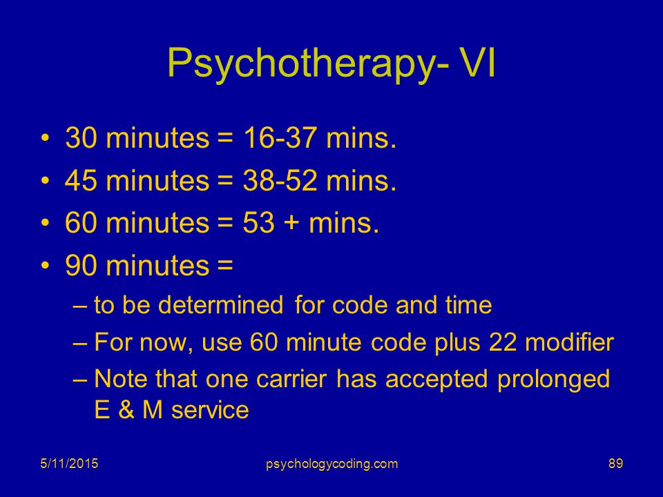 Psychotherapy- VI 30 minutes = 16-37 mins. 45 minutes = 38-52 mins.