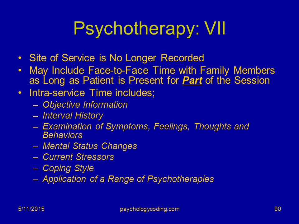 Psychotherapy: VII Site of Service is No Longer Recorded