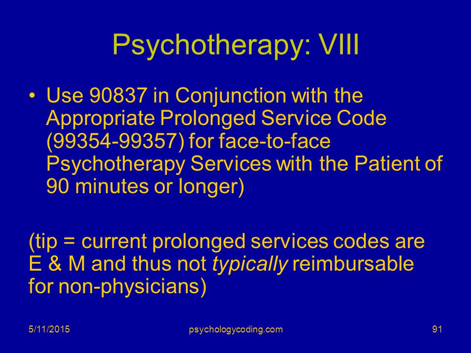Psychotherapy: VIII