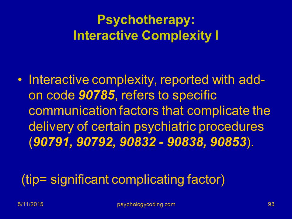 Psychotherapy: Interactive Complexity I