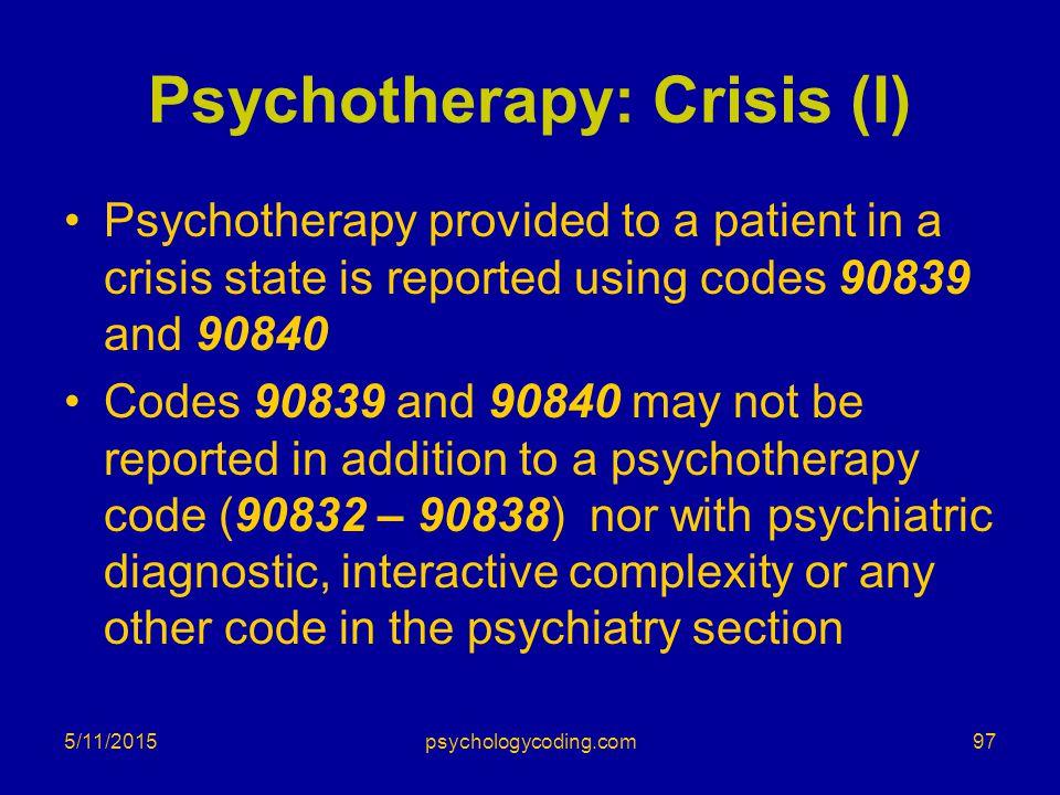 Psychotherapy: Crisis (I)