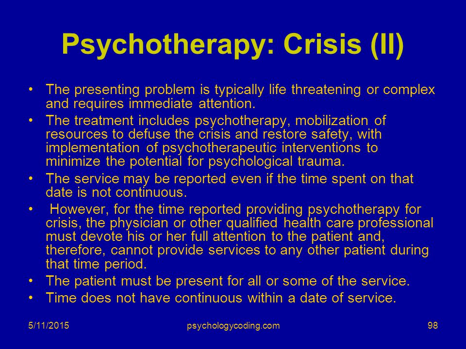 Psychotherapy: Crisis (II)