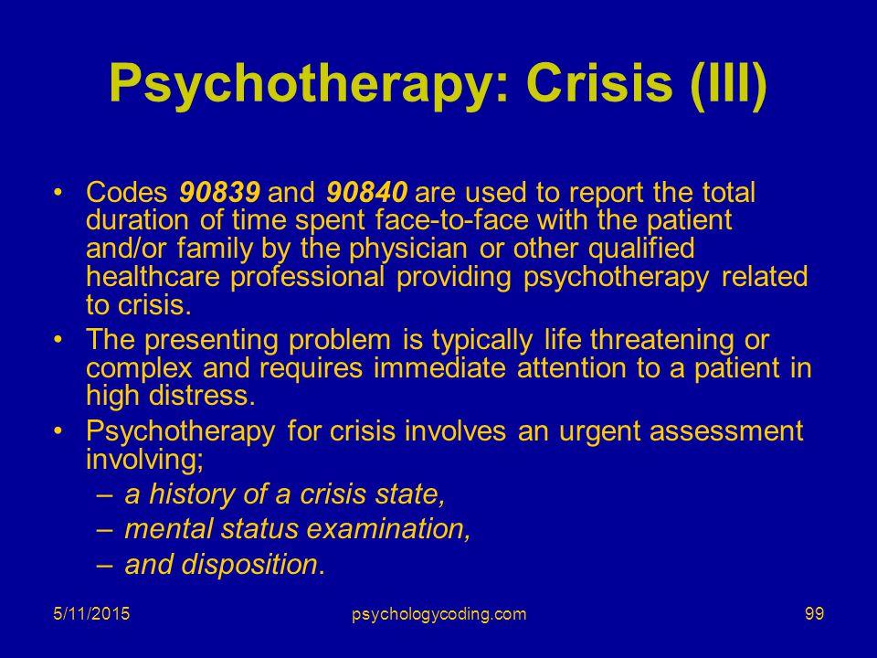 Psychotherapy: Crisis (III)