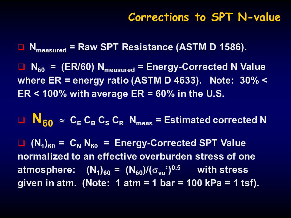 Corrections to SPT N-value