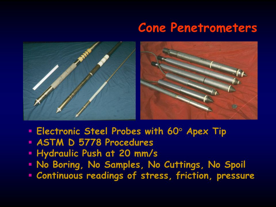 Cone Penetrometers Electronic Steel Probes with 60° Apex Tip