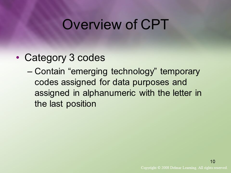 Overview of CPT Category 3 codes