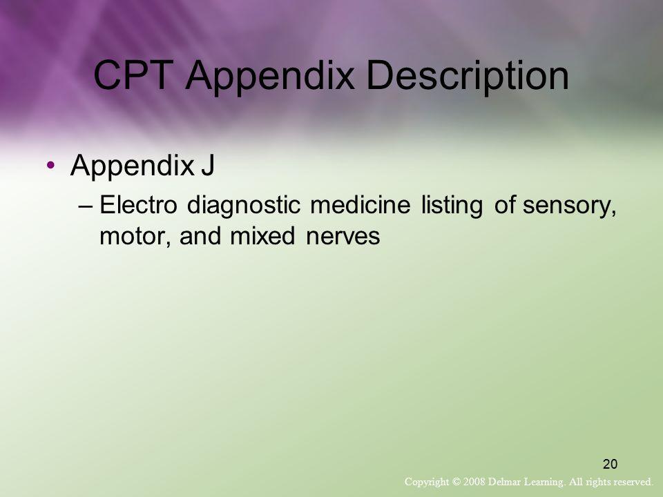 CPT Appendix Description