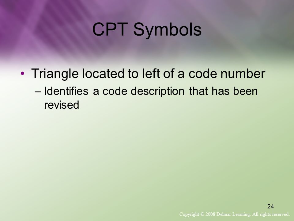 CPT Symbols Triangle located to left of a code number