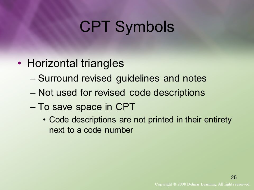 CPT Symbols Horizontal triangles Surround revised guidelines and notes
