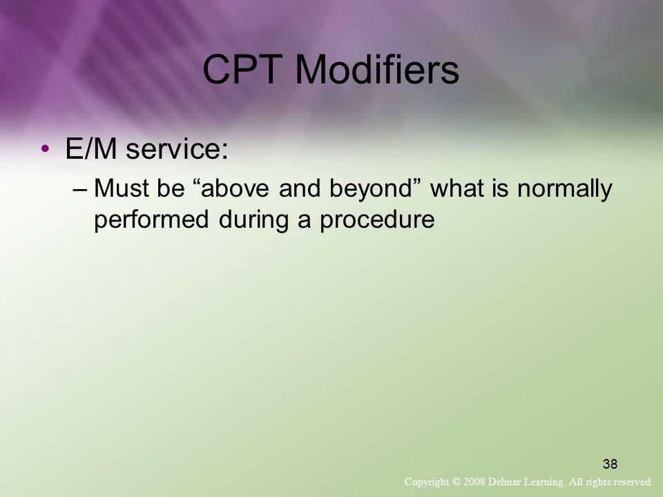 CPT Modifiers E/M service: