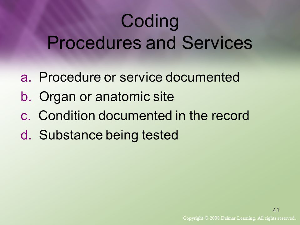 Coding Procedures and Services