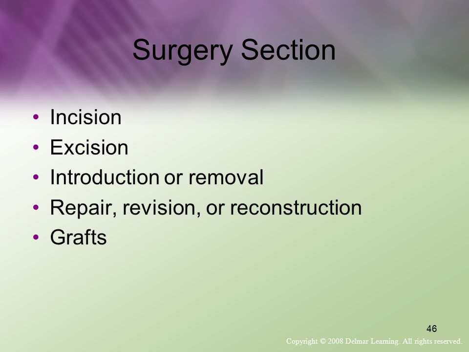 Surgery Section Incision Excision Introduction or removal