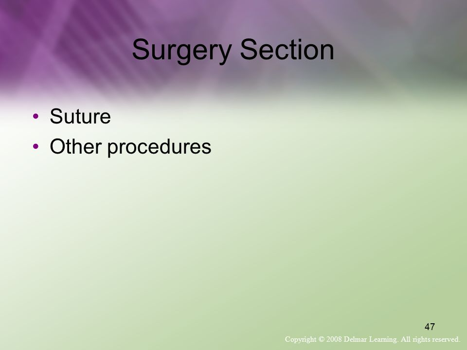 Surgery Section Suture Other procedures