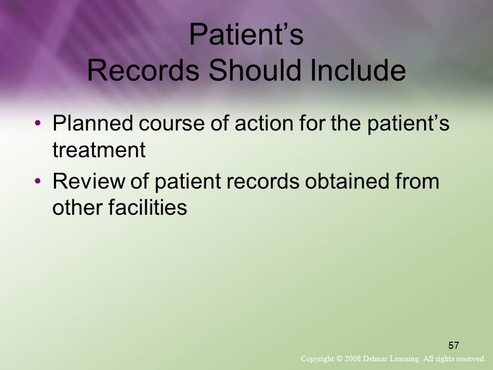 Patient's Records Should Include
