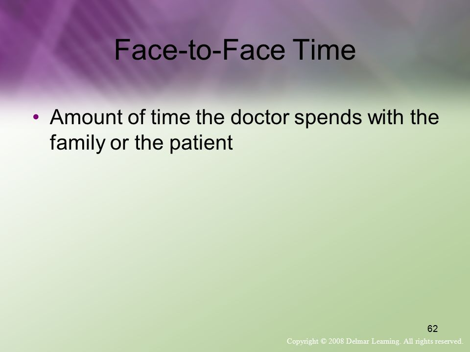 Face-to-Face Time Amount of time the doctor spends with the family or the patient