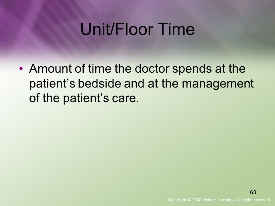 Unit/Floor Time Amount of time the doctor spends at the patient's bedside and at the management of the patient's care.