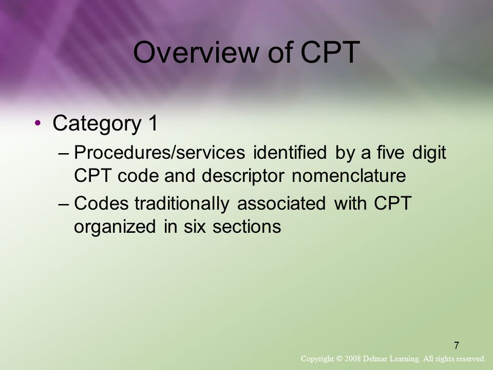 Overview of CPT Category 1
