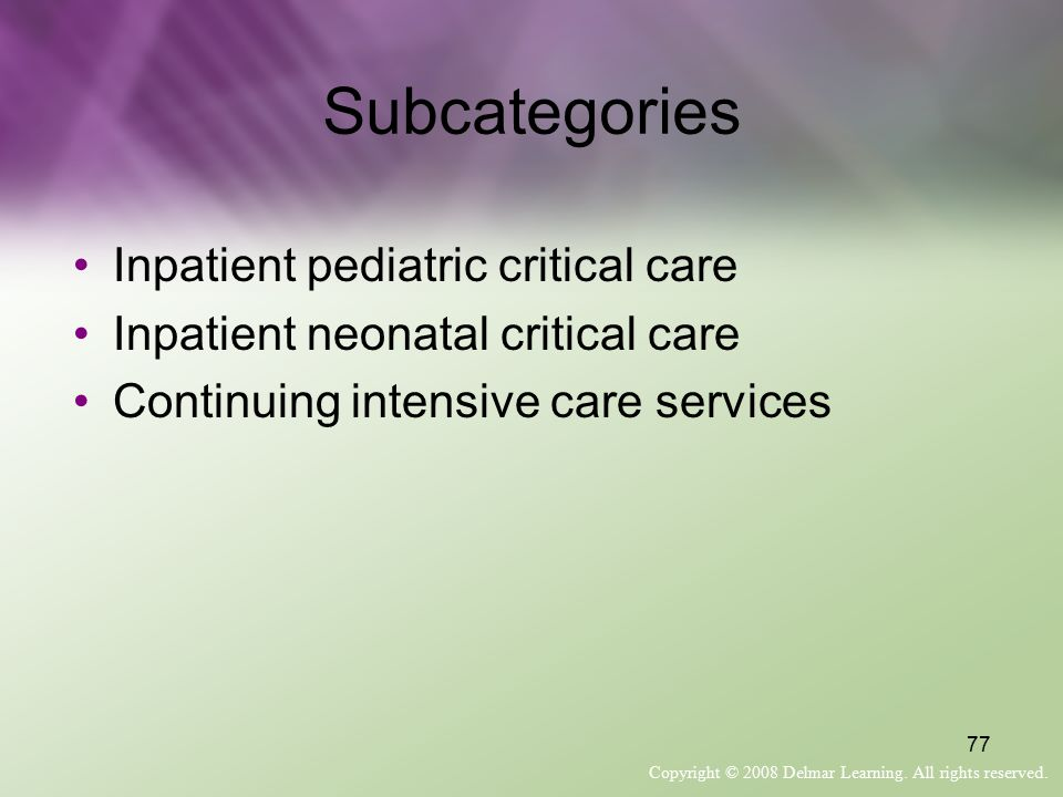 Subcategories Inpatient pediatric critical care