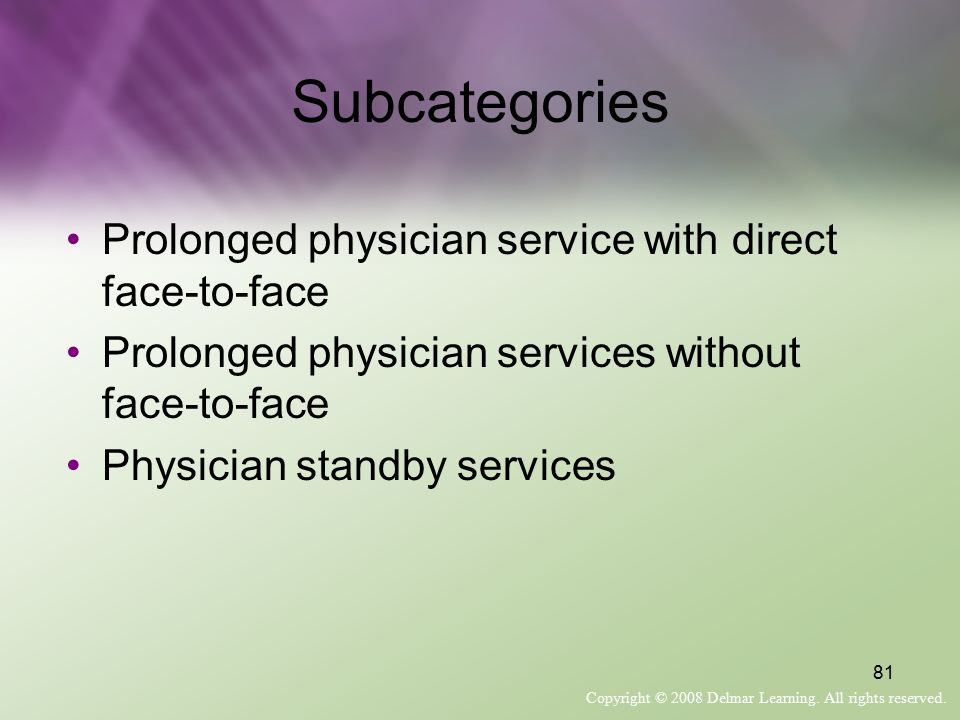Subcategories Prolonged physician service with direct face-to-face