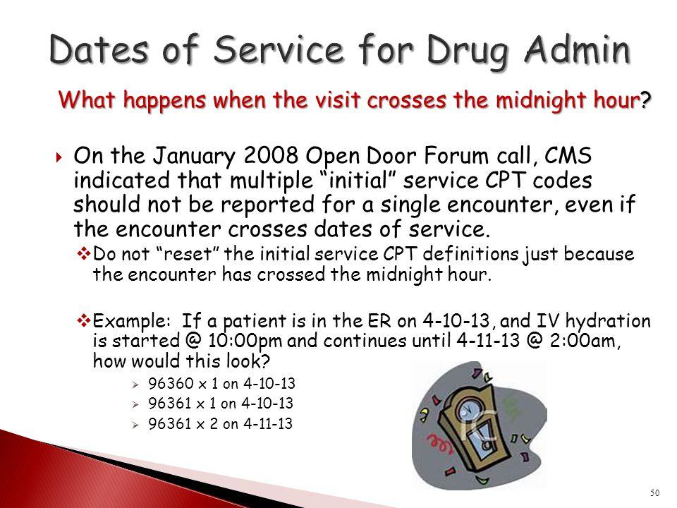 Dates of Service for Drug Admin