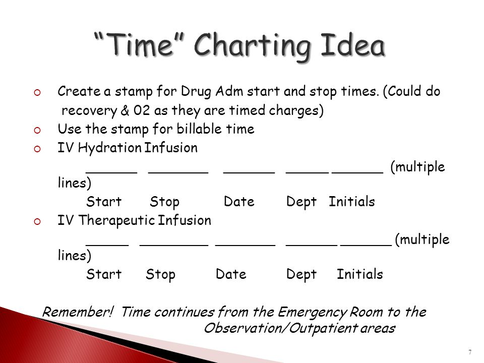Time Charting Idea Create a stamp for Drug Adm start and stop times. (Could do. recovery & 02 as they are timed charges)