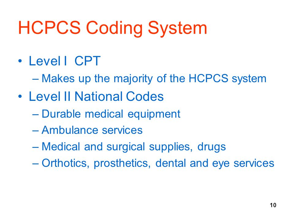 HCPCS Coding System Level I CPT Level II National Codes