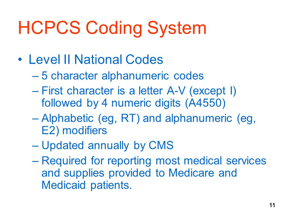 HCPCS Coding System Level II National Codes