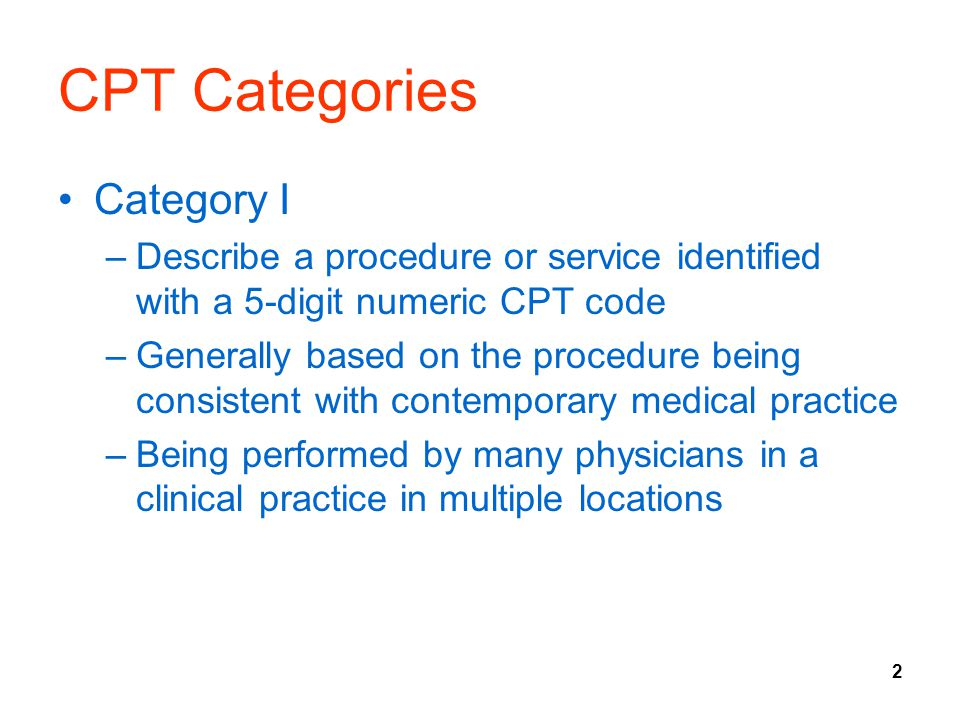 CPT Categories Category I