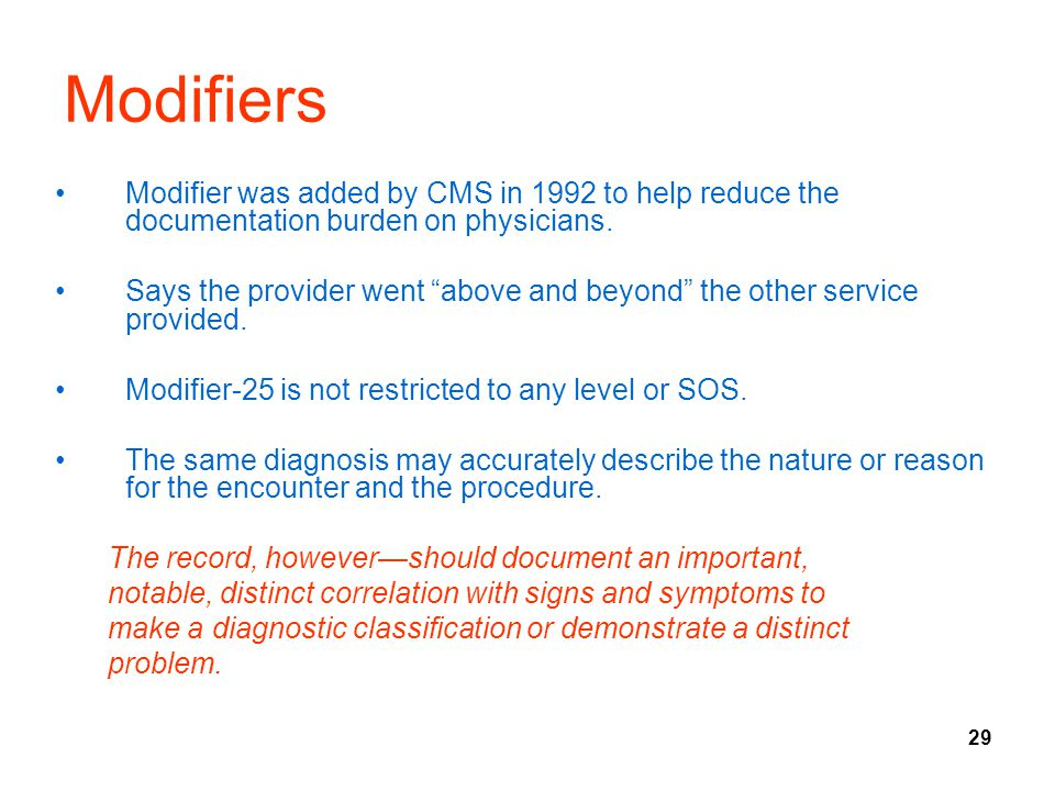 Modifiers Modifier was added by CMS in 1992 to help reduce the documentation burden on physicians.