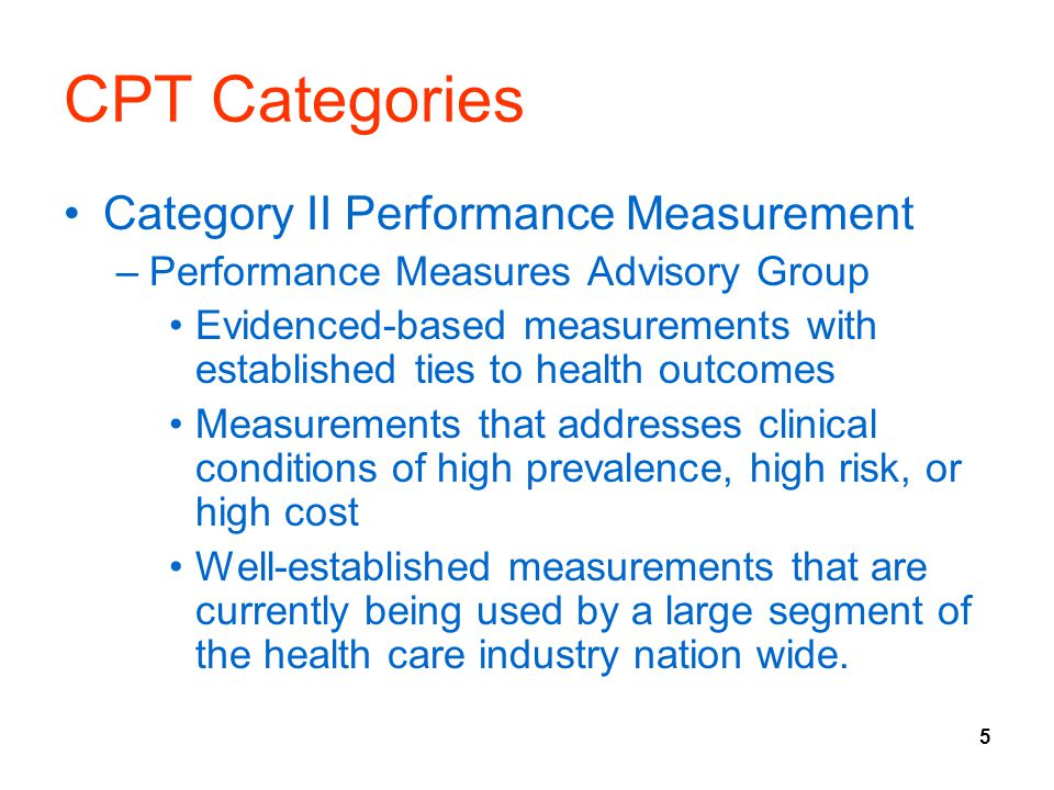 CPT Categories Category II Performance Measurement