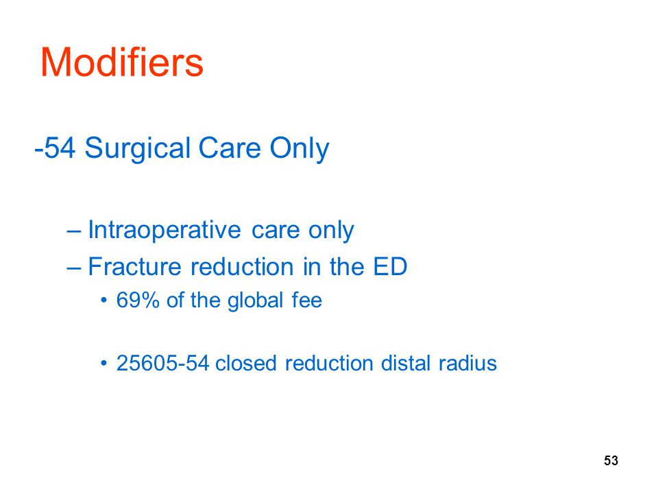 Modifiers -54 Surgical Care Only Intraoperative care only