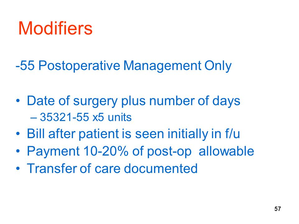 Modifiers -55 Postoperative Management Only