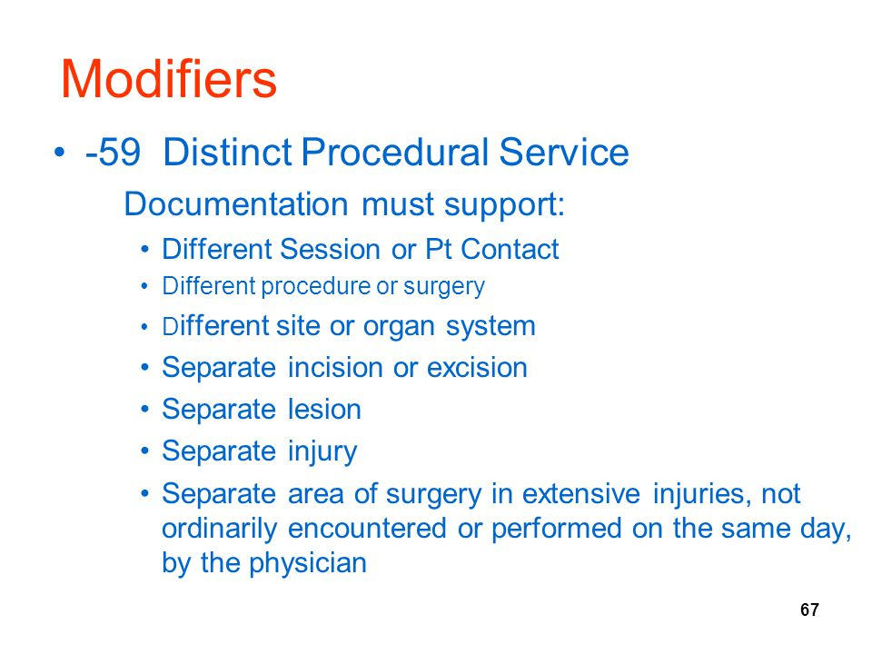 Modifiers -59 Distinct Procedural Service Documentation must support: