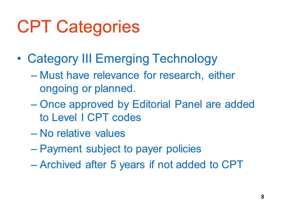 CPT Categories Category III Emerging Technology