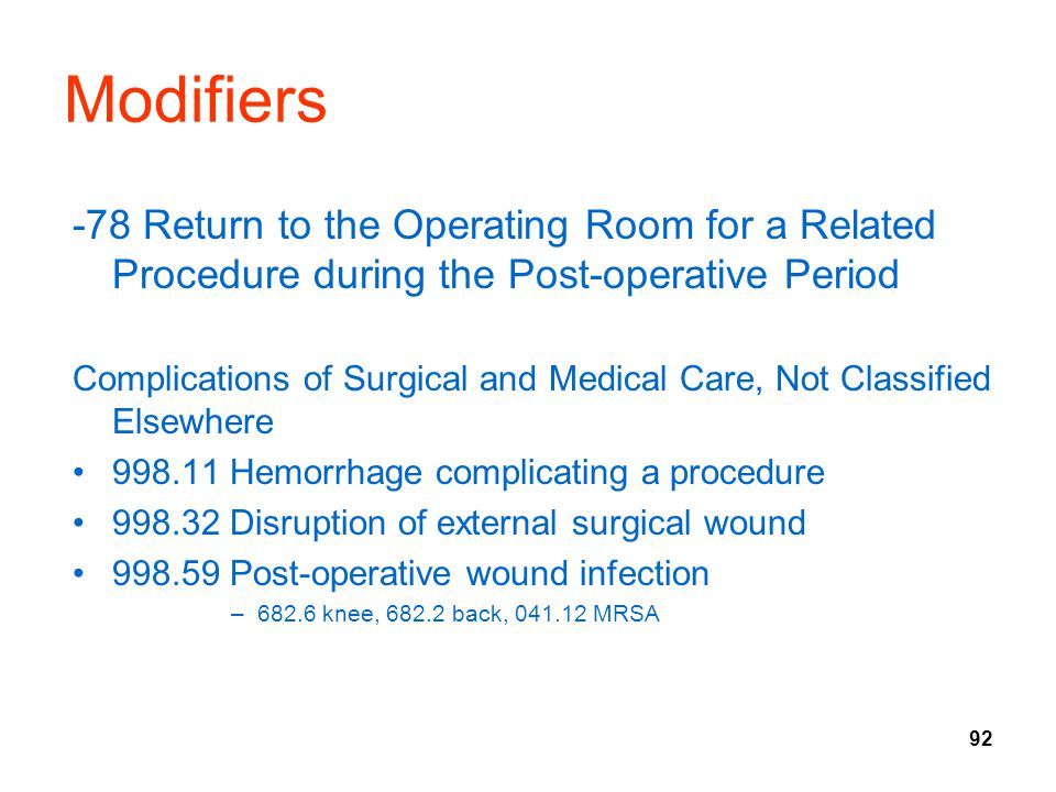 Modifiers -78 Return to the Operating Room for a Related Procedure during the Post-operative Period.