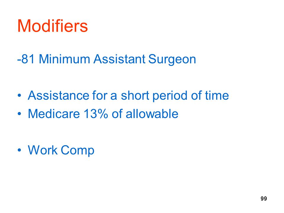 Modifiers -81 Minimum Assistant Surgeon