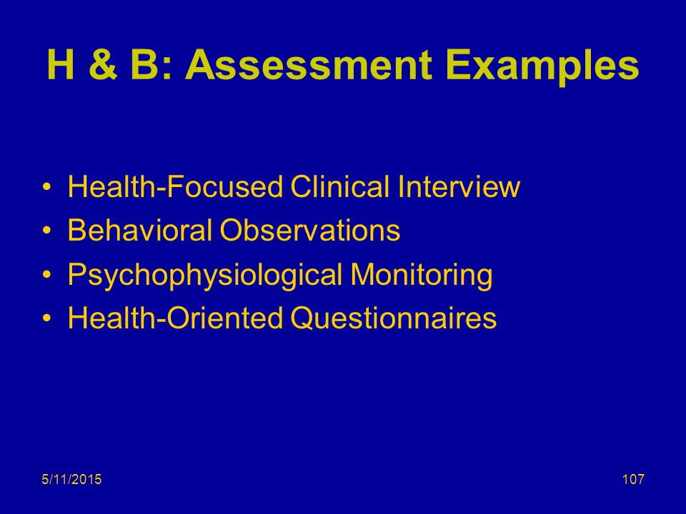 H & B: Assessment Examples