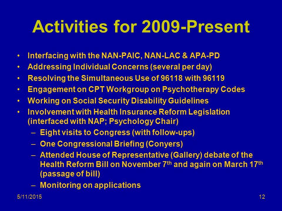 Activities for 2009-Present