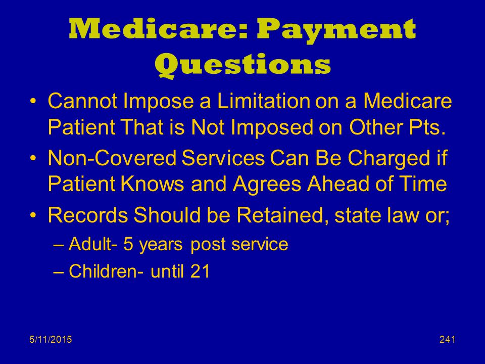 Medicare: Payment Questions