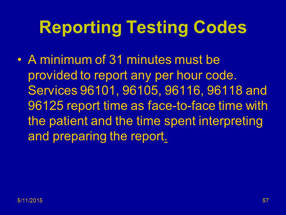 Reporting Testing Codes