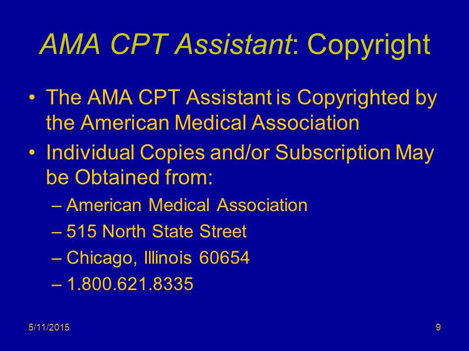 AMA CPT Assistant: Copyright