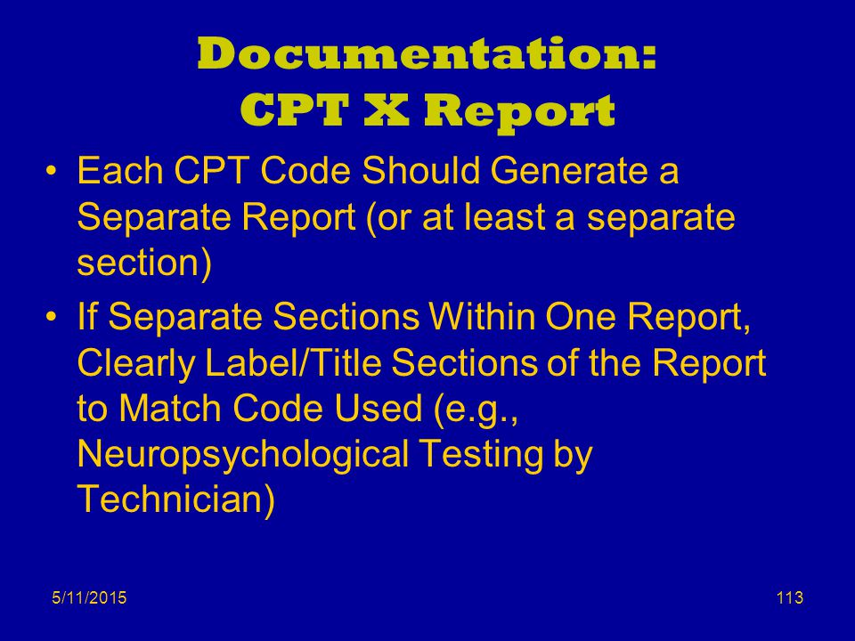 Documentation: CPT X Report
