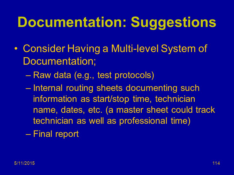Documentation: Suggestions